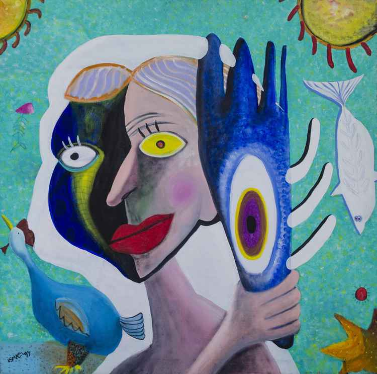 Woman With Blue Mask