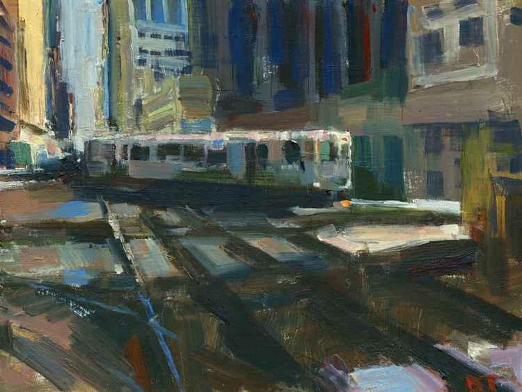 El Train Rounding Corner -