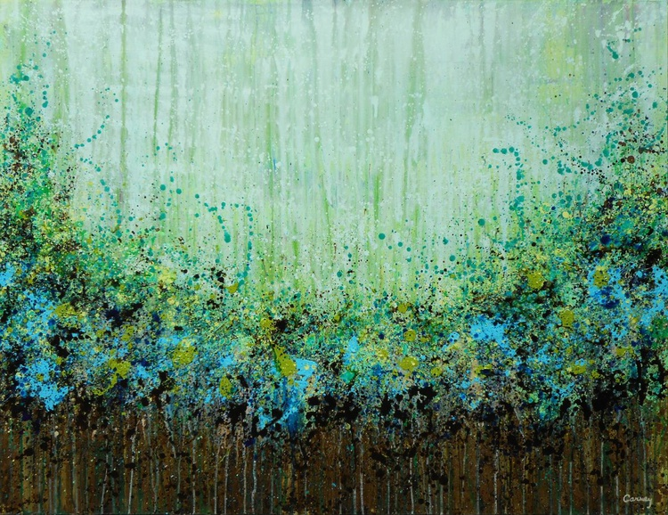 Green Meadow - Huge original botanical abstract painting created in beautiful shades of green, blue, brown, teal and turquoise - Image 0