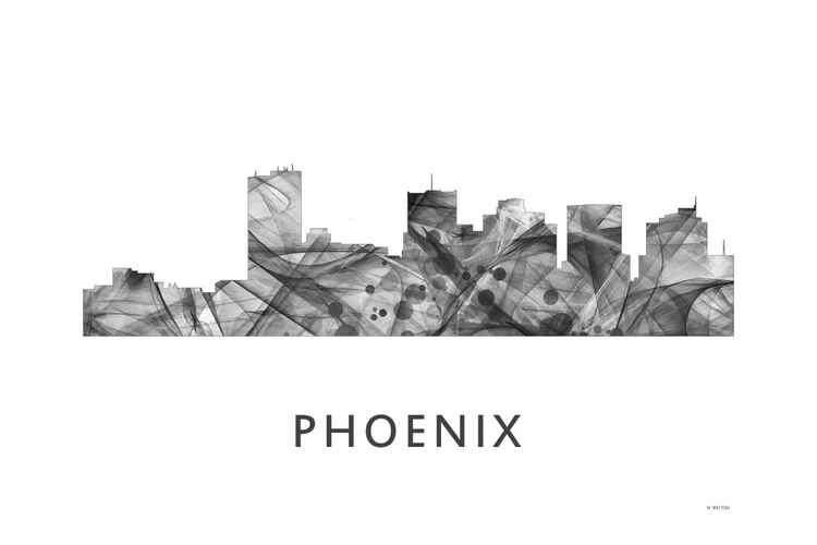 Phoenix Arizona Skyline WB BW -