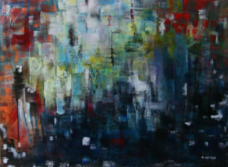 City Life - 36x48x1.5 -Buildings - Street lights - Large abstract painting - Image 0