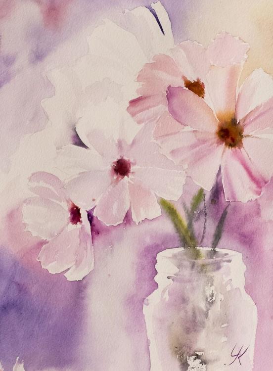 """PINK & WHITE"", original watercolour painting, 11.2""x 15.2""(28x38cm) - Image 0"