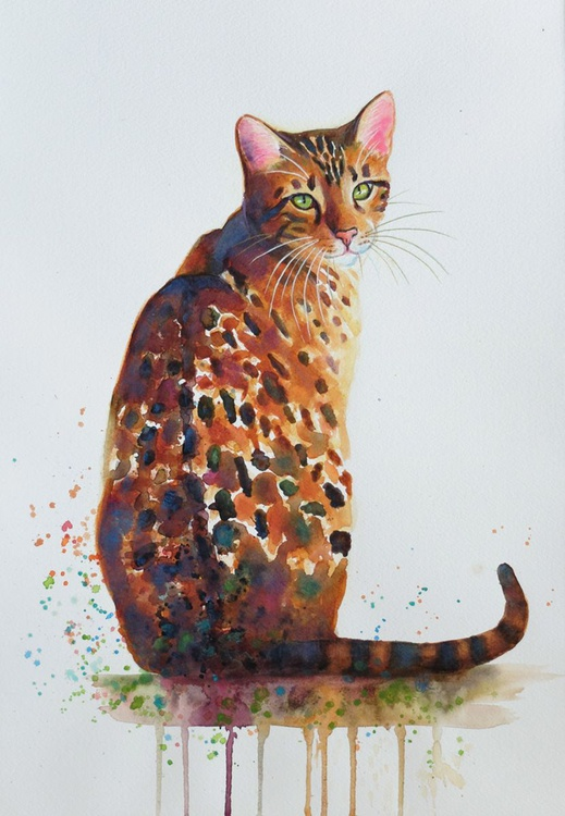 Glitter Girl - Bengal Cat Watercolour - Image 0