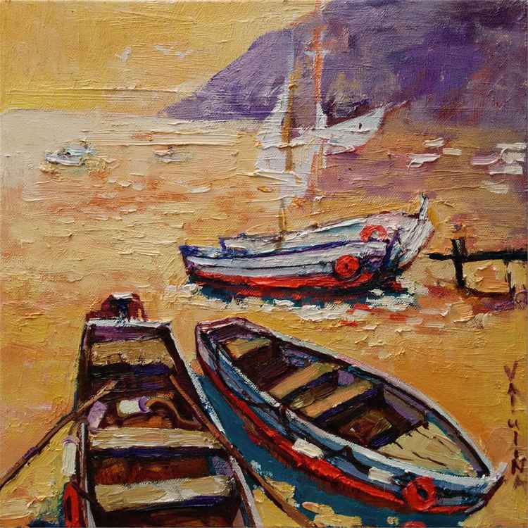 Boat painting Seascape original oil painting on canvas -