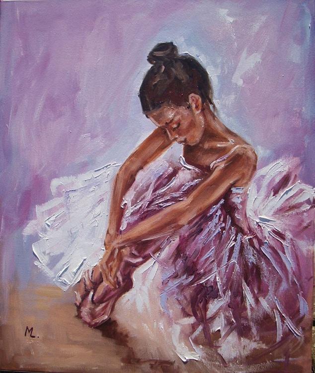 """"""" SILENCE ... """"- ballerina light  ORIGINAL OIL PAINTING, GIFT, PALETTE KNIFFE - Image 0"""