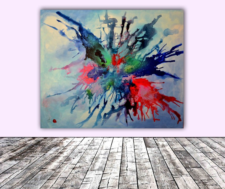 Air Butterfly XL Big Painting, FREE SHIPPING - Large Painting - Ready to Hang, Hotel and Restaurant Wall Decoration - Image 0