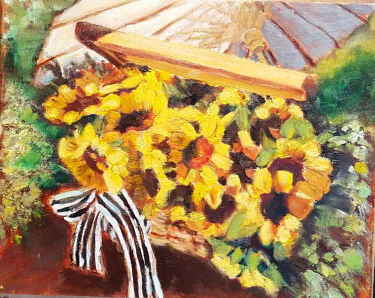 Sunflowers in Central Park in oil -