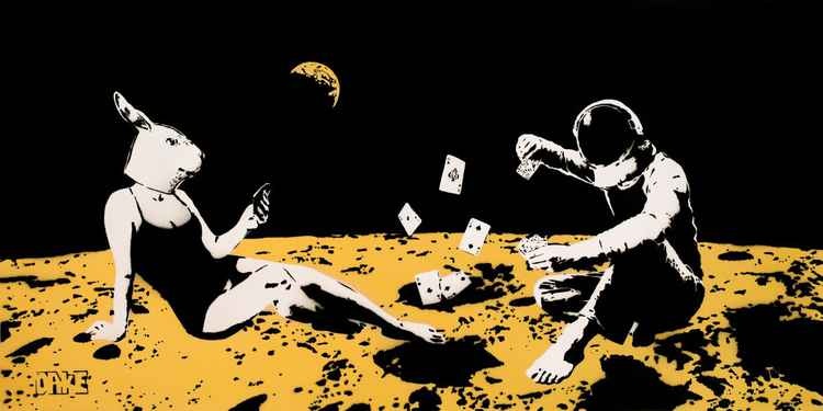 Playing cards on the moon (Black gold) -