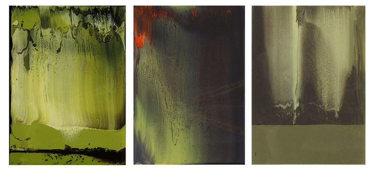 Working in varnish 132 (Triptychon-green) - Image 0