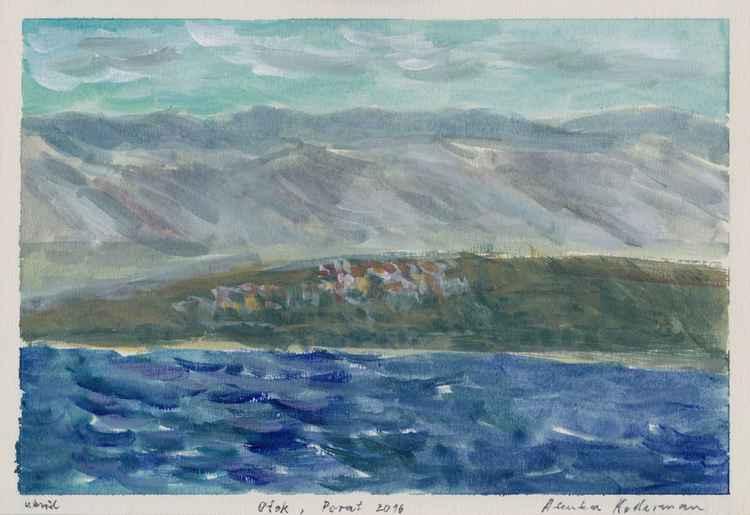 Island – Otok 2016, acrylic on paper, 20 x 28,9 cm