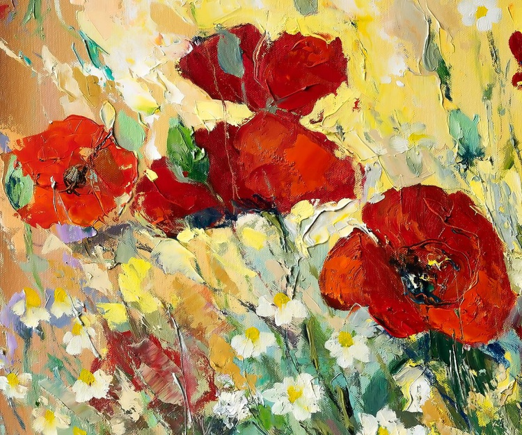 'Poppies and Daisies Meadow' - Image 0