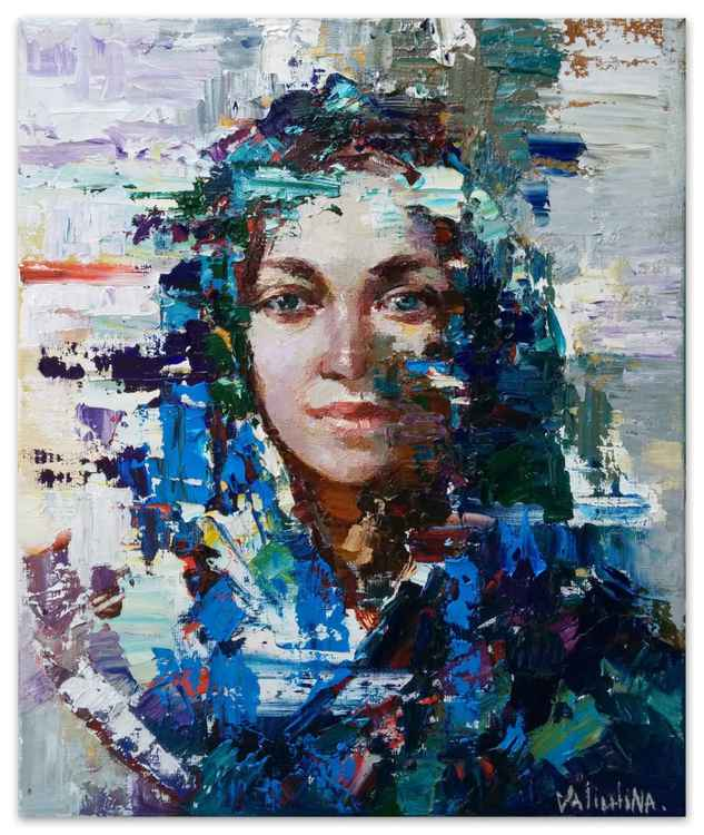 Russian girl Original abstract portrait painting on canvas -