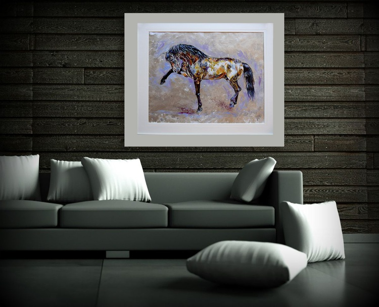 Silver / Framed Horse Equine Art  Modern Contemporary  Wall Art Home Decor by Anna Sidi - Image 0