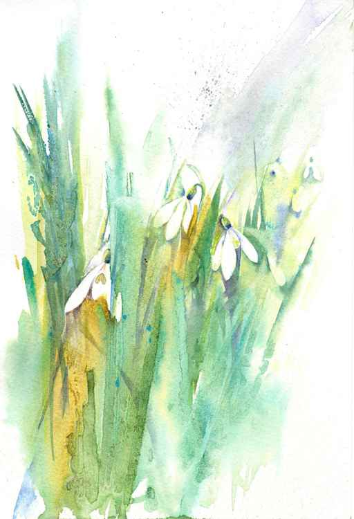 Snowdrops - Snowdrop painting, Snowdrop Watercolour,  Flower Painting, Spring Flower Painting, Spring Floral Art -