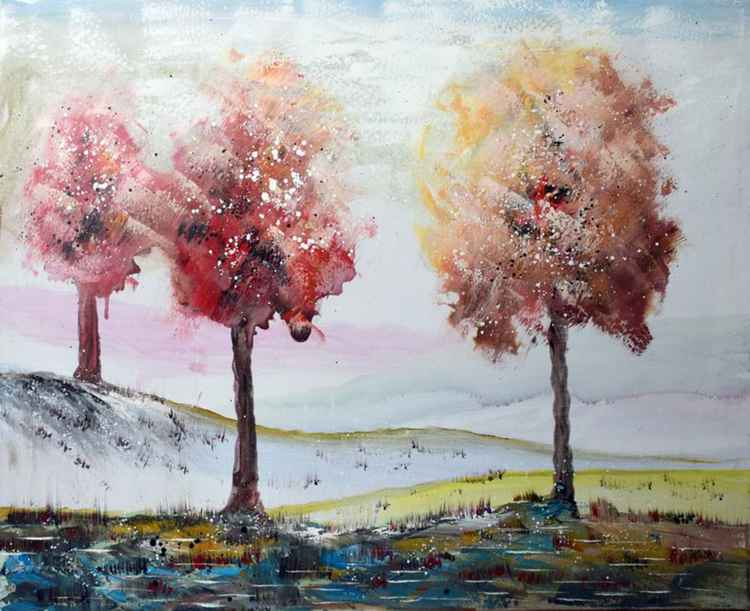 Changing Seasons - Abstract Acrylic Art Painting - 28x35 inch, 2015 -