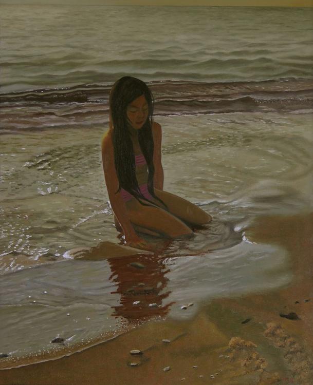 A line between ocean and sand - coastal landscape - child portrait - Image 0