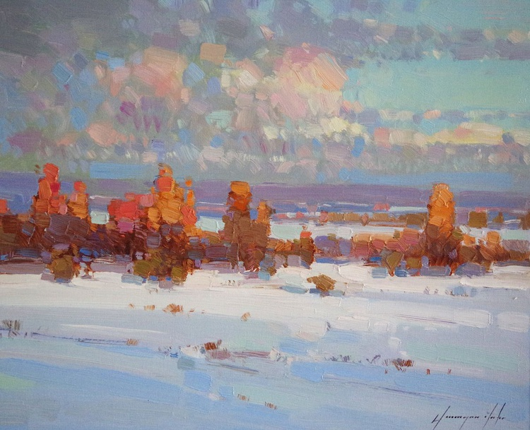 Landscape Oil painting, Winter, River Side, One of a kind, Signed with Certificate of Authenticity - Image 0