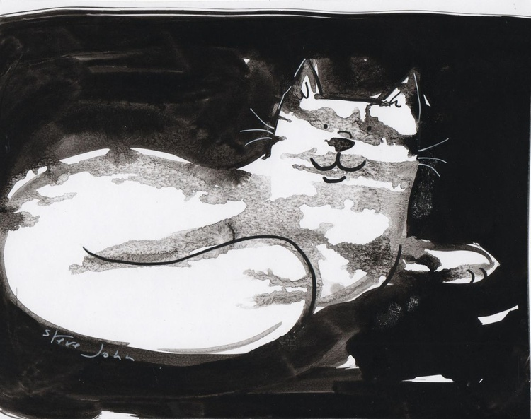Sam the cat, Ink with ink washes - Image 0