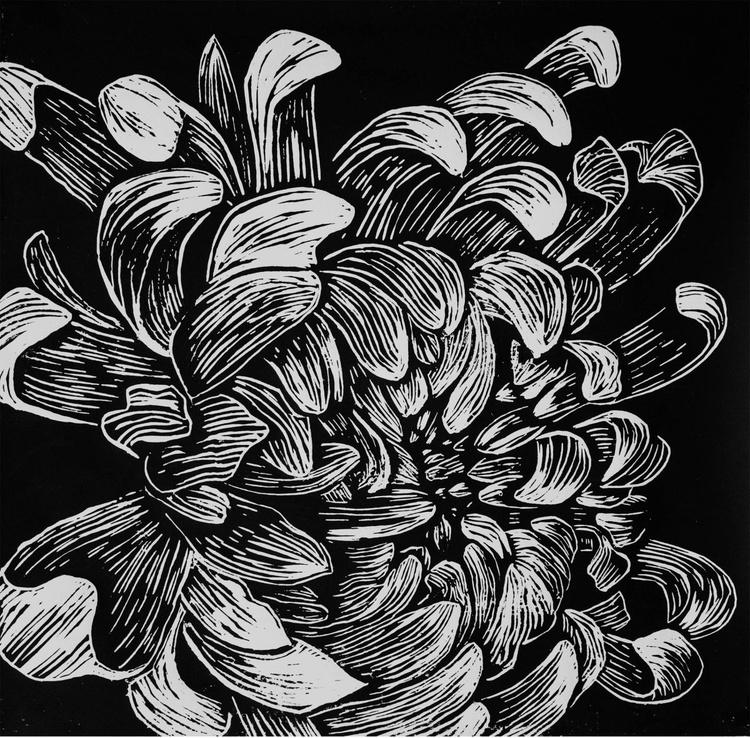 Chrysanthemum flower, linocut print - Image 0