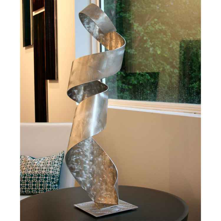 'Hanging On' - Elegant Metal Sculpture Modern Silver Decor Contemporary Metal Ribbon Table Art