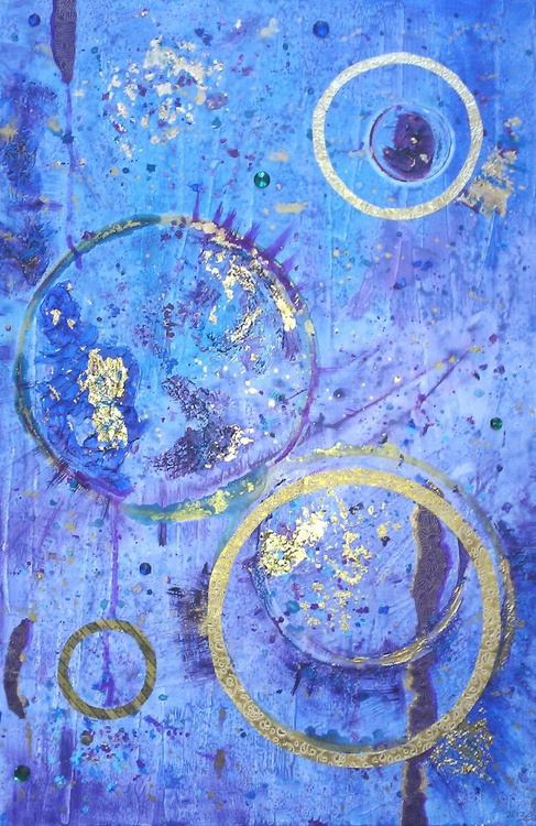 Space Ritual | Medium-sized blue and purple abstract on linen canvas | 50 x 76 x 2cm | Japanese influence mixed media |  Home office, bedroom, yoga studio - Image 0
