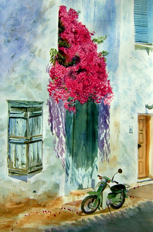 Greek house with bougainvillea - Image 0