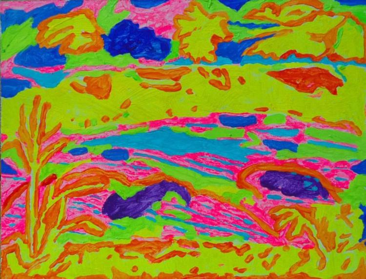 Spirit of Ping River, acrylic on wood, 15 x 20 cm, 2015 - Image 0