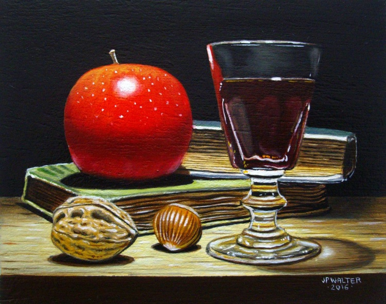 Red apple on books II / FREE Shipping - Image 0