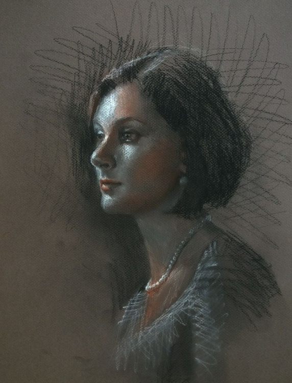 Woman and Pearls - Life Drawing Portrait in Charcoal - Image 0