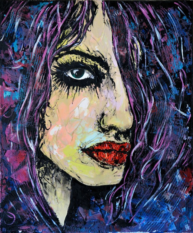 Ines - Original Acrylic Painting Art on Canvas Ready To Hang - Image 0