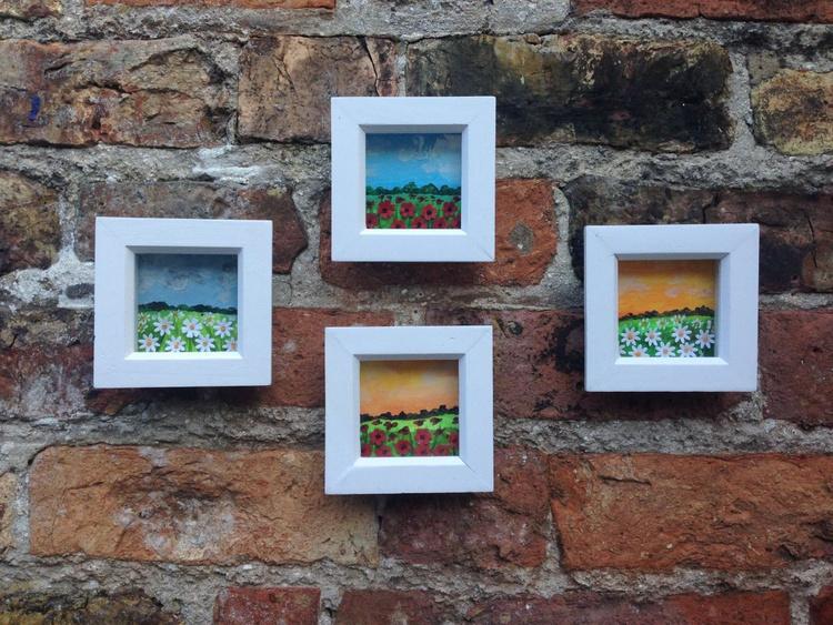"""Mini Meadows II"" 4 pieces Framed - Image 0"