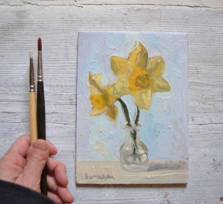 Two Daffodils in a Little Glass Vase - Image 0