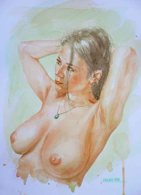 original art watercolour painting female nude woman on paper #16-5-12 -