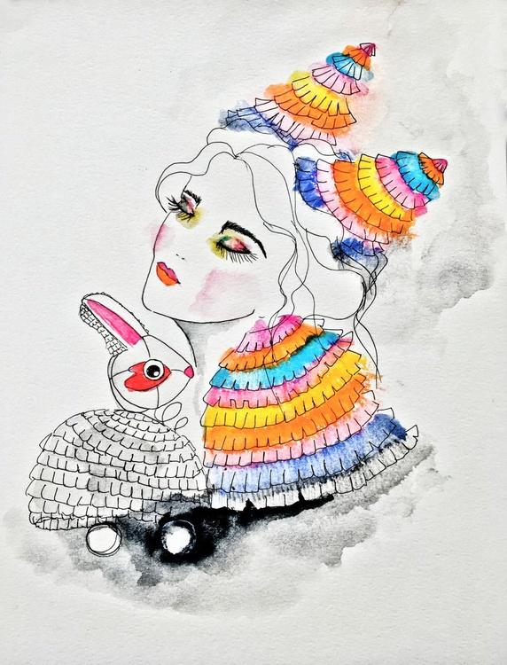 Mid-Autumn bunny  & Piñata Girl. Fashion Illustration (2016) - Image 0