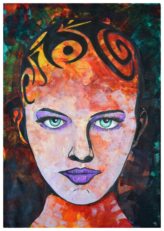 Tribal Head - Acrylic Abstract Art Painting On A1 Big Size Paper - Image 0