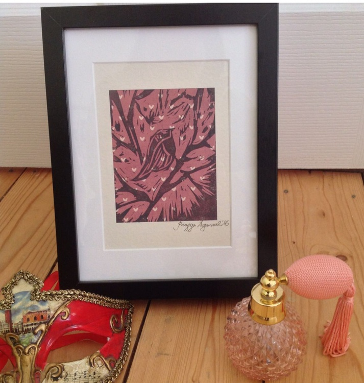 Framed Ready to Hang : 'Tweet Away', Mixed media, Linocut - Image 0