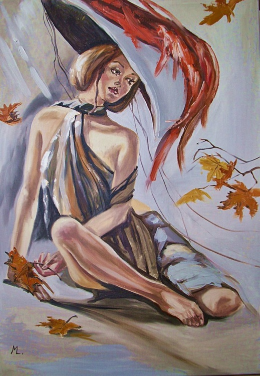 """"""" AUTUMN LADY ...  """" - original oil painting on canvas, gift, PALETTE KNIFE - Image 0"""