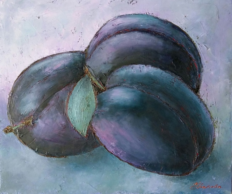 Lilac still life with plums, 60x50 cm, original oil painting FREE SHIPPING - Image 0
