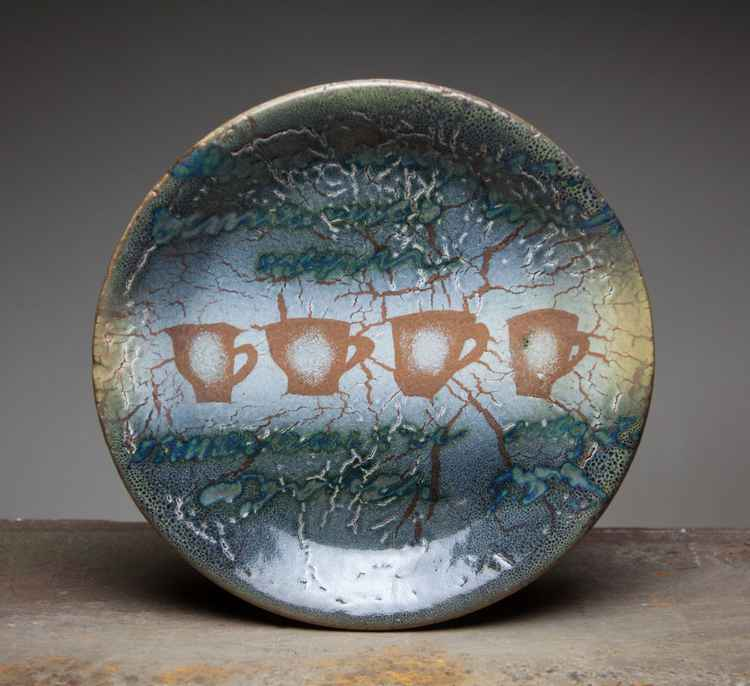 "Round ceramic plate ""Cups"" -"