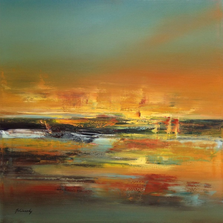 Ancient America - 70 x 70 cm, brown, ocher, yellow abstract landscape oil painting, earth tone colours - Image 0