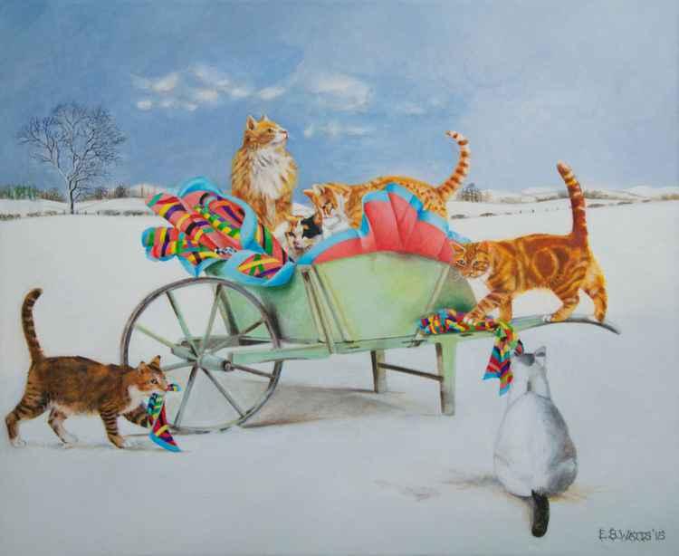 Cats with Wheelbarrow