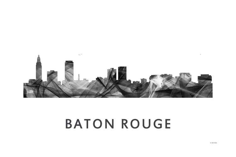 Baton Rouge Louisiana Skyline WB BW