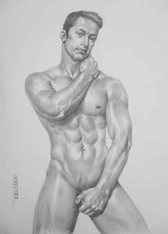 original art drawing charcoal male nude man boy on paper #16-4-7-03