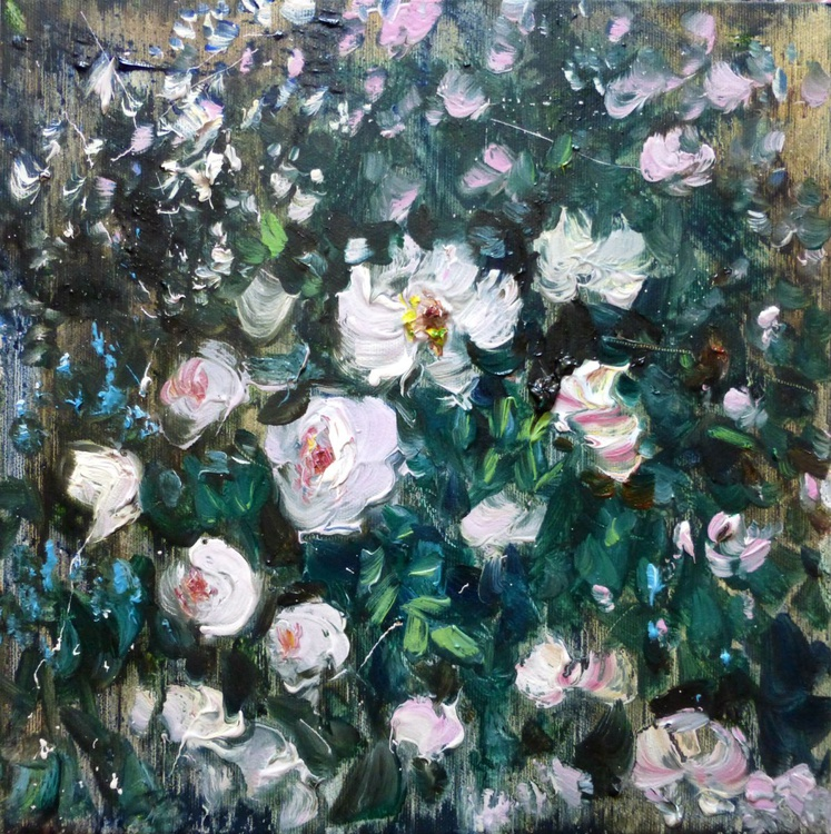 The Rose Bush, oil painting 30x30 cm - Image 0