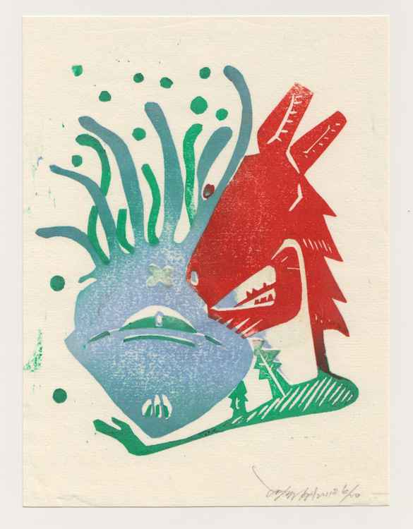 Wolf and Jelly Fish  - Red/ Green Version