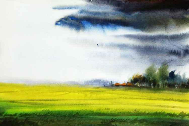 Monsoon Corn Field - Watercolor Pinting -