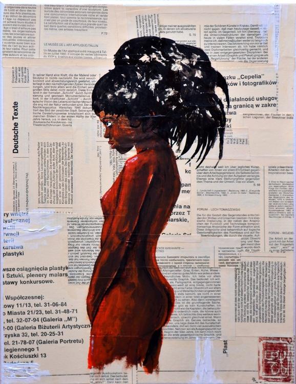 African Teenage Girl - Original Acrylic Painting on Decoupage Canvas - Image 0