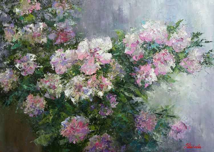 Twig tea rose, original oil painting, 70x50 cm, FREE SHIPPING