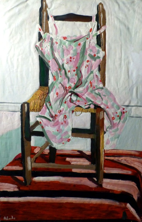 Still Life: Summer Dress On The Chair, oil on canvas 98x64 cm - Image 0