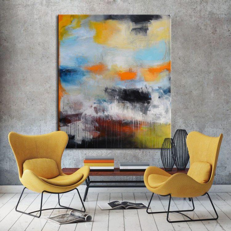 Controlled Chaos - Large Original Abstract Painting Blue Orange Art - Image 0